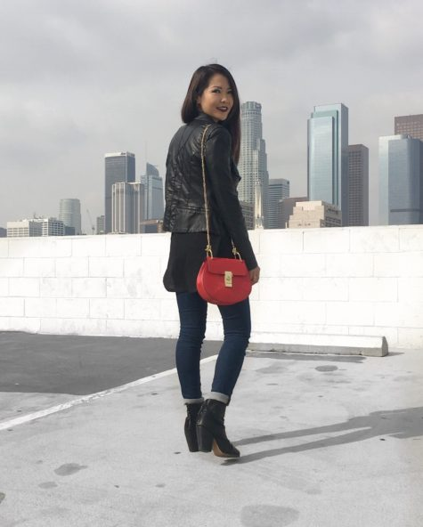 Jenny wears BlankNYC faux leather jacket, Rag and Bone Newbury boots, and Chloe Drew bag outfit