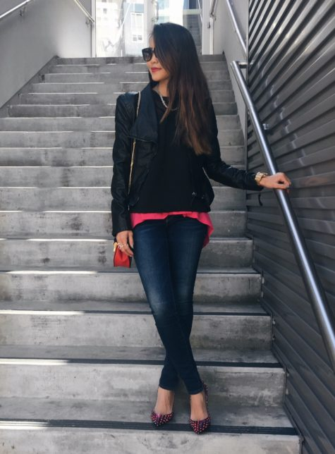 black blanknyc jacket and jeans outfit