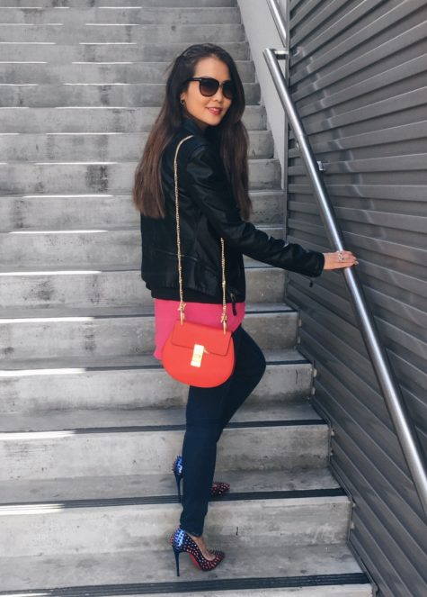black blanknyc jacket and jeans and red chloe drew bag outfit