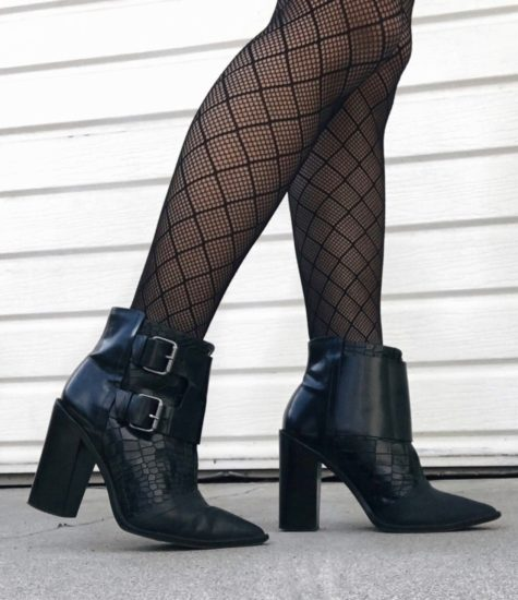 tibi ankle boots and fishnet stockings