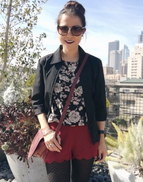 black floral top and burgundy shorts outfit