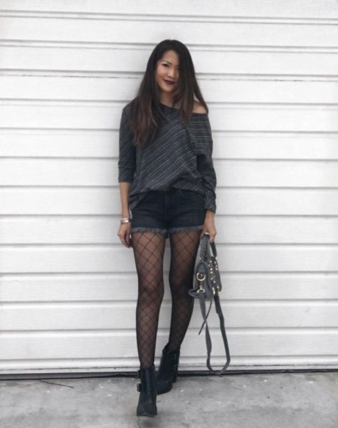 how to wear fishnets and shorts