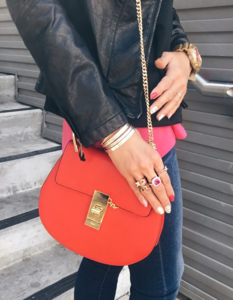 red chloe drew bag and ross-simons rings